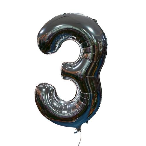 silver helium balloon digit 3