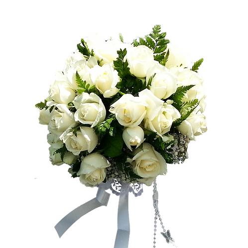 זר כלה 5 מפרחים טריים בשזירה מקצועית