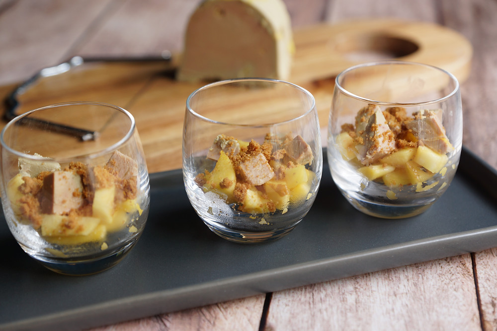 Foie gras aux pommes en crumble