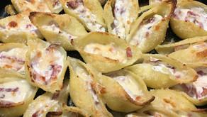 Conchiglionis ricotta/bacon gratinés au parmesan