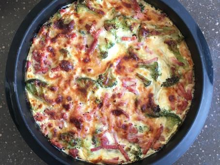 Quiche sans pâte brocolis/bacon/parmesan