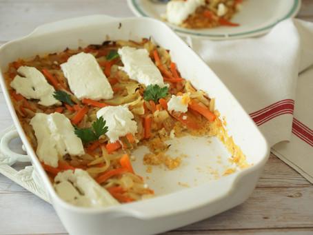 Gratin de quinoa aux petits légumes et au chèvre frais
