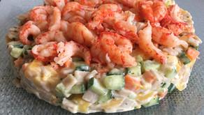 Salade fraîcheur crozets/écrevisses/concombre/carottes/mangue