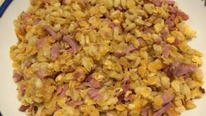 Lentilles corail au bacon et au blé, façon risotto