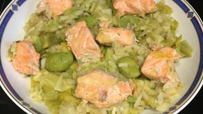 Risotto saumon/poireaux/fèves