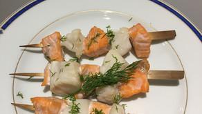 Brochettes saumon/cabillaud