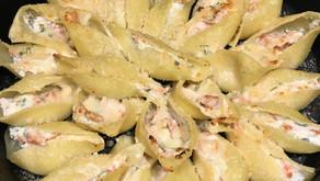 Conchiglionis ricotta/saumon fumé gratinés au parmesan