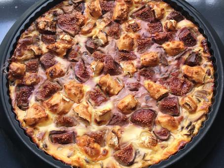 Quiche sans pâte figues/chèvre/bacon/champignons