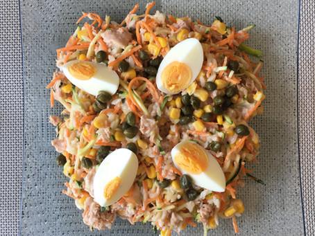 Salade riz/maïs au thon et ses légumes croquants
