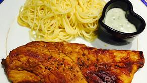 Escalope de veau sauce roquefort et ses spaghettis