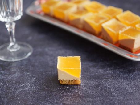 Petits cubes de foie gras et sa gelée de pommes au vinaigre  balsamique blanc
