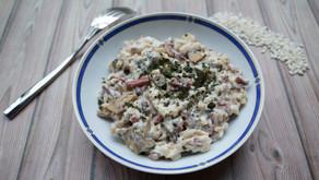 Risotto crémeux bacon, ricotta et champignons