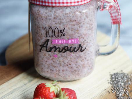 Fresh strawberry chia latte
