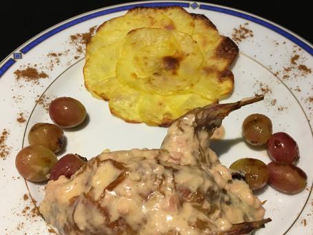 Cailles sauce foie gras et leurs rosaces de pomme de terre