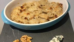 Taillerins aux noix, sauce roquefort et noix
