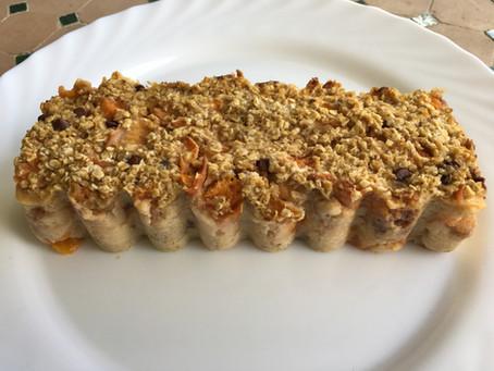 Cake abricots/flocons d'avoine/chocolat