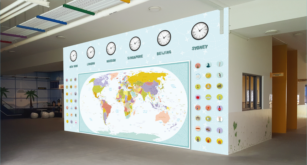 Primary School World Map Wall Mural