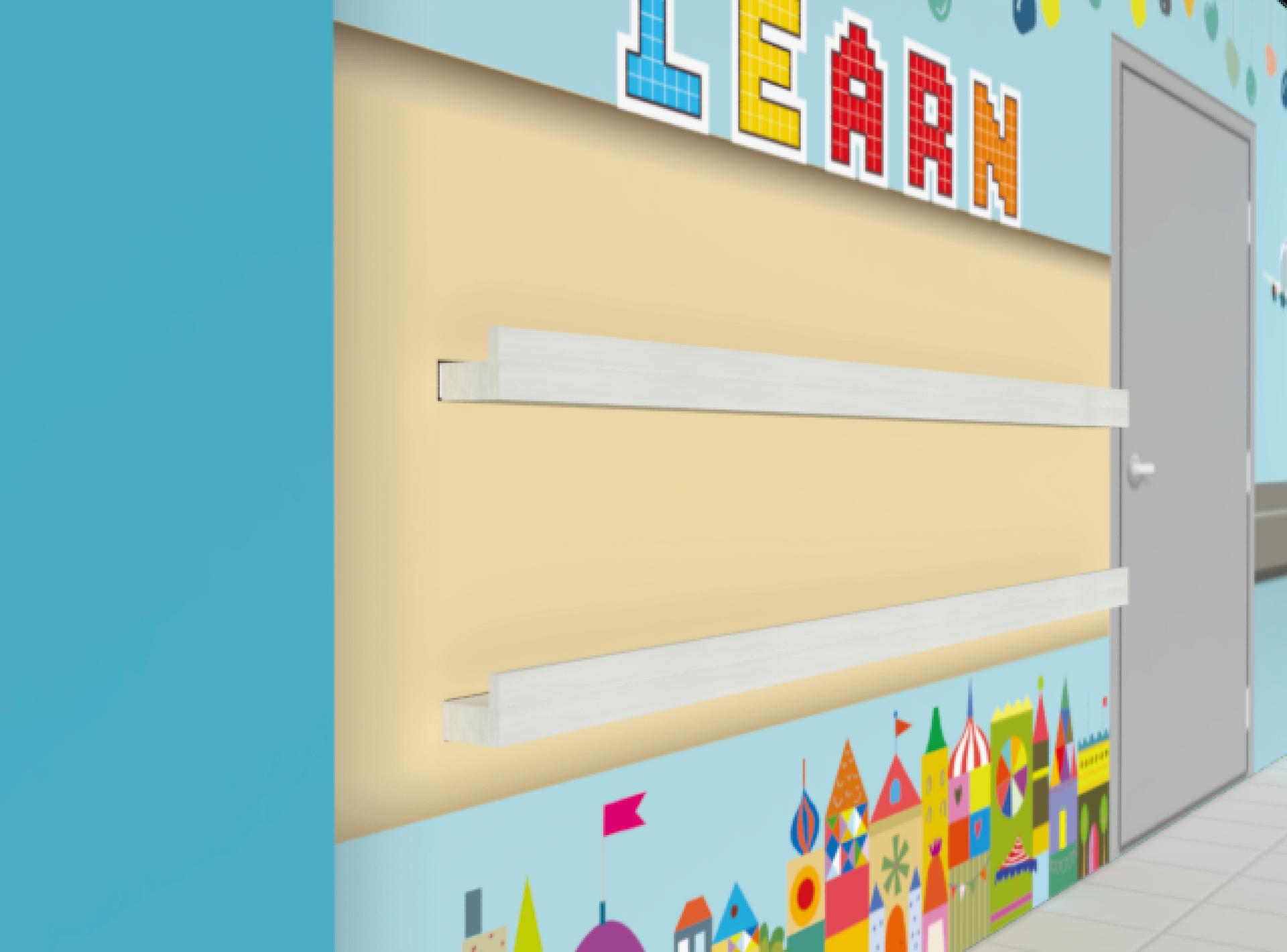 Stamford Primary School Library Wall Mural Bookshelf