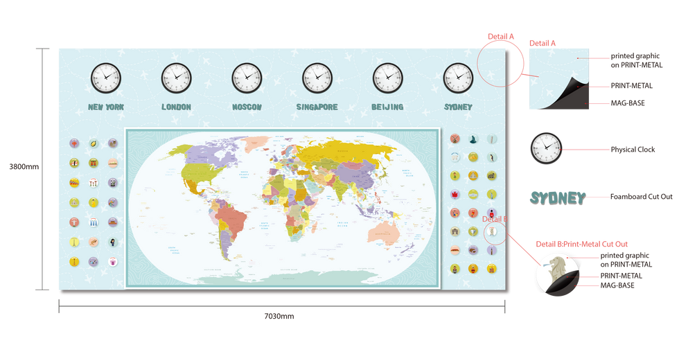 Primary School World Map Wall Mural Dimension