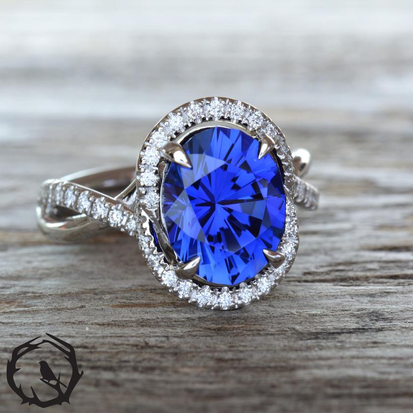 Royal Blue Lab Sapphire Ring