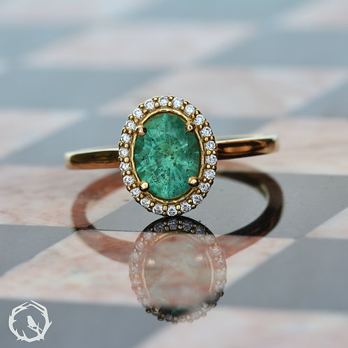 2 carat Zambian Emerald Halo