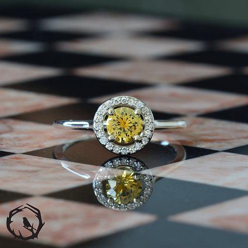0.75 carat Montana Sapphire Halo Yellow
