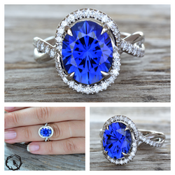 Lab Sapphire  and Moissanite
