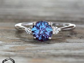 Lab Alexandrite Engagement Ring