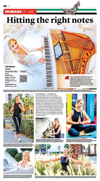Kaleej Times Anna Demis pianist Humans of UAE
