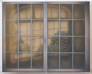 The curtain- peinture à l'huile