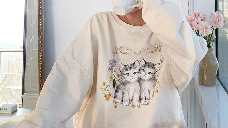 SUCHCUTE Lose Weight Hoodies Women Hoody Top Oversize 90s Female Sweatshirts
