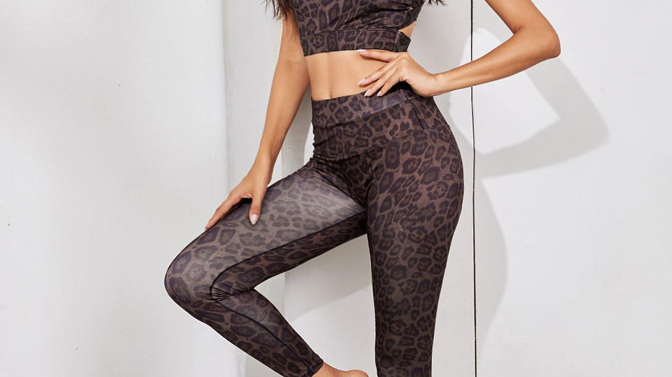 Leopard Print Crisscross Back Top With Leggings