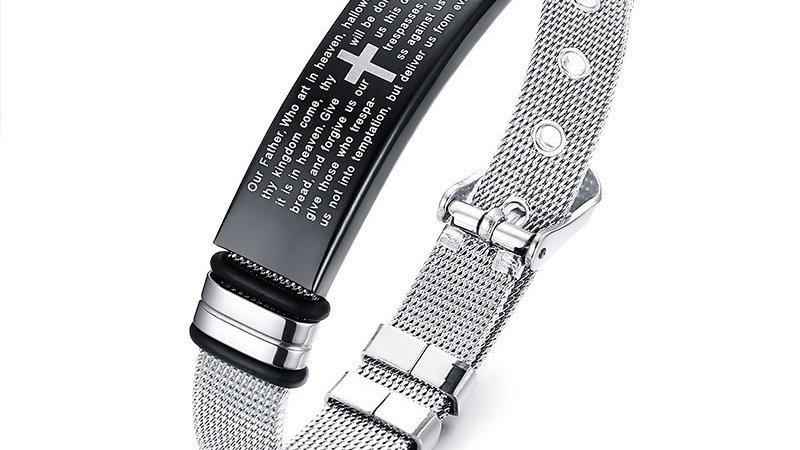 Christian Bible Cross Bracelets for Women Bangle Stainless Steel Adjustable