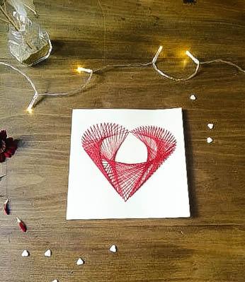 Carte cœur brodé