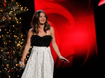 Lucy Hale's CMA Country Christmas Beauty — Pretty Red Lips