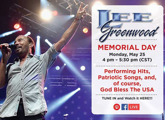 Lee Greenwood To Perform Free Full Memorial Day Concert On Facebook Live, Monday, May 25th From 4-5:
