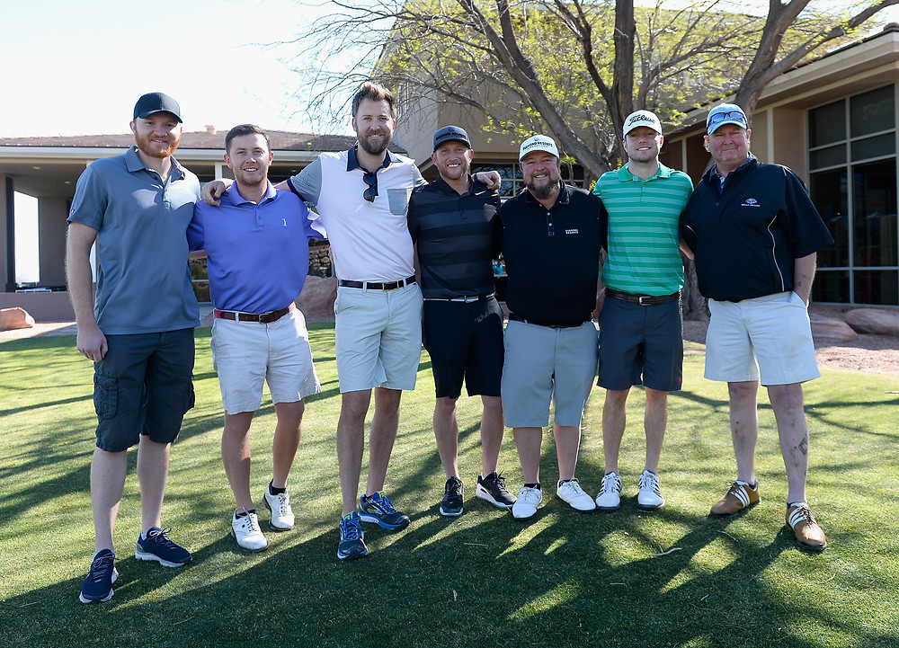 Eric Pasley, Scotty McCreery, Charles Kelley, Cole Swindell, Colt Ford, Jacob Davis and Tracy Lawrence. Photo by Bryan Steffy