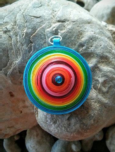Large rainbow disc pendant