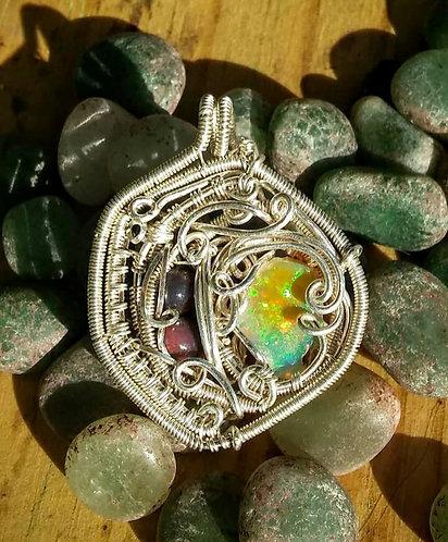 Ethiopian opal sterling wire wrap