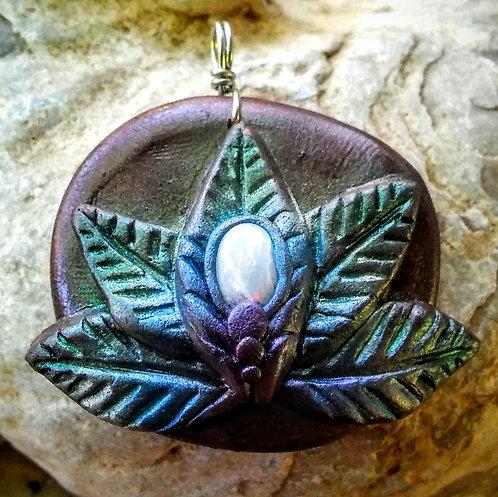 Ethiopian opal leafy lotus flower pendant