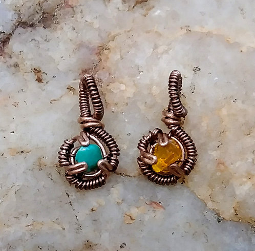 Teeny tiny copper wire wrapped pendants