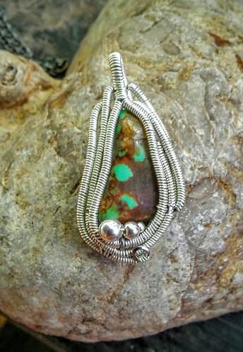 Chinese turquoise wire wrapped pendant