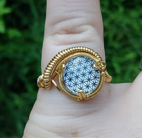 Flower of life brass wire wrapped ring size 6