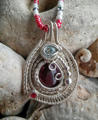 Sterling silver wire wrap with Rubies and topaz