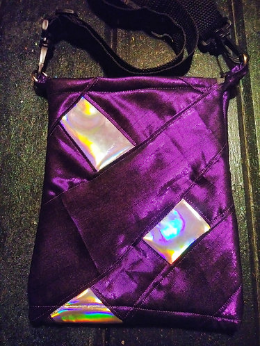 Purple metallic holographic patchwork bag