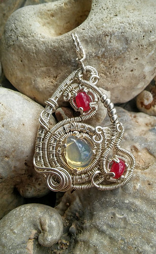 Swirly sterling Opal and ruby triangle pendant