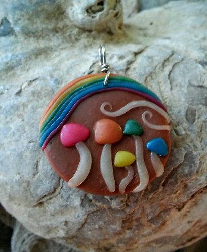 Rainbow mushroom family pendant