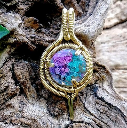 Blurple blops wire wrapped pendant