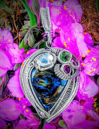 Pietersite wire wrapped pendant