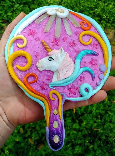 Cotton candy unicorn princess hand mirror